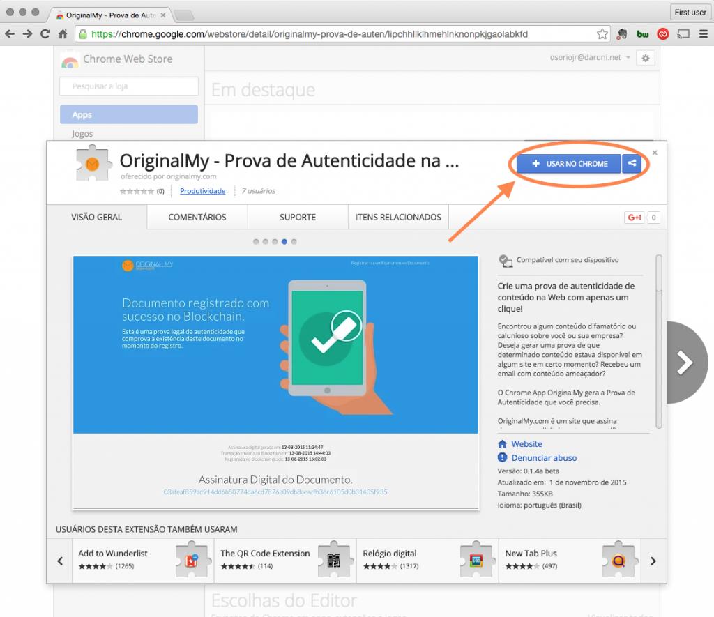 Instalação da Extensão OriginalMy no Chrome